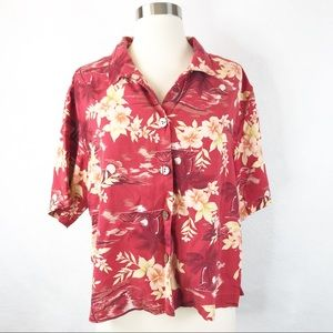 Tommy Bahama Red Floral Button Front Silk Top M